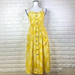 Angashion Yellow Midi Dress Size S
